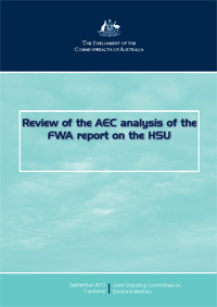 Cover of the Report into the review of the AEC analysis of the FWA report on the HSU