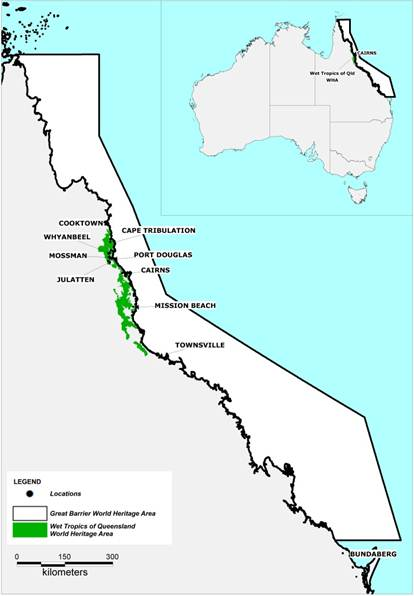 Figure 5.1 Location of the Wet Tropics of Queensland World Heritage Area and the Great Barrier Reef World Heritage Area