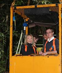Figure 5.4 Committee members in the canopy crane with crane operator (left)