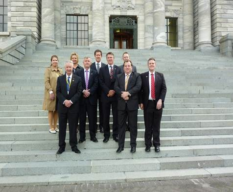 committee members in front of NZ Parliament
