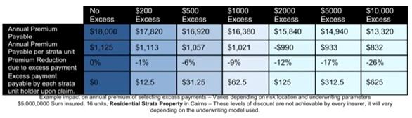 table showing a selection of excess payments and their impact on typical strata premiums